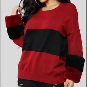 Fashion Nova Burgundy Cuffing Season Sweater